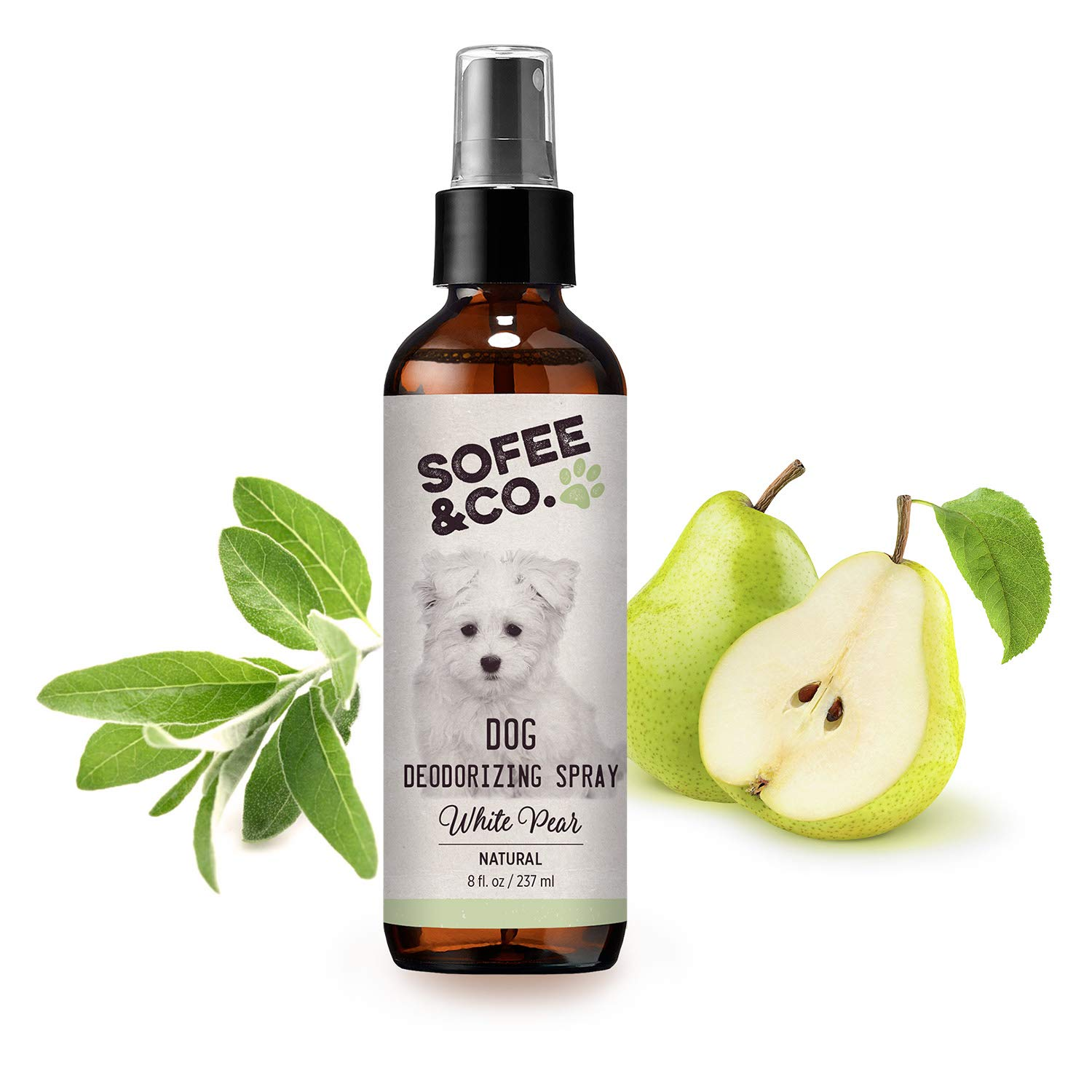Sofee & Co. Natural Dog Puppy Deodorizing Grooming Spray - White Pear - Neutralize Eliminate Remove Odor Smell- Freshener Perfume Cologne. Use Directly On Pets Furniture Bedding Carpet Rug Room 8oz by Sofee & Co.