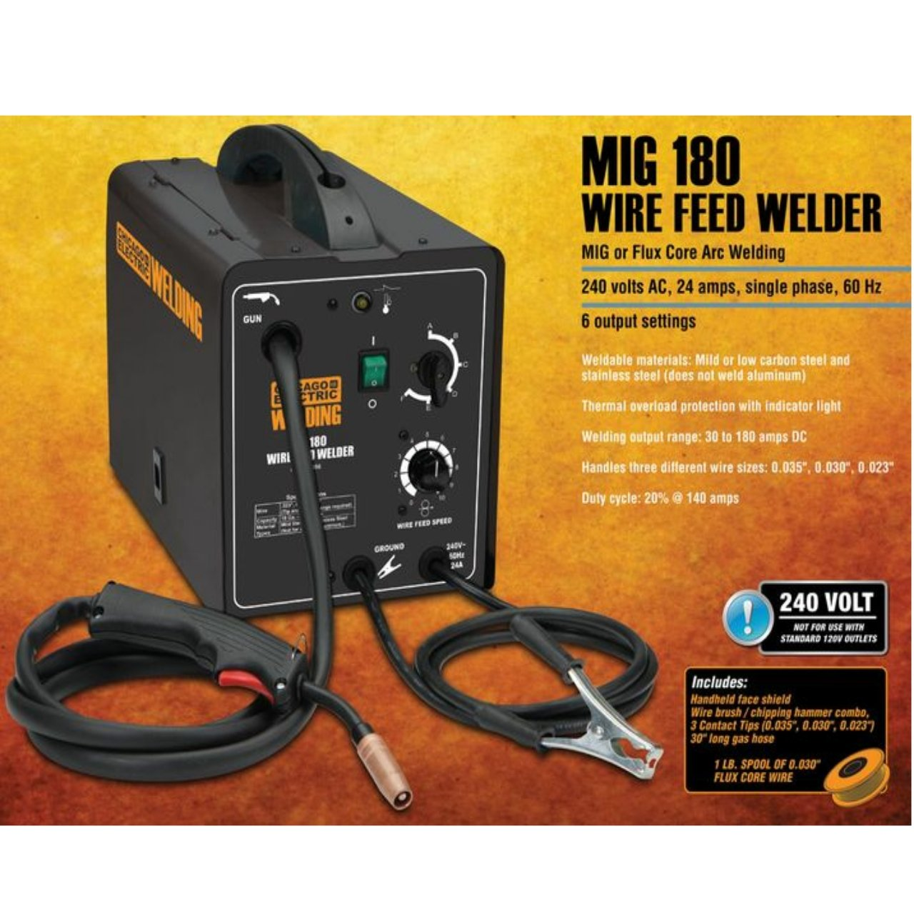 Chicago Electric Welding Systems 180 Amp Mig Flux Wire Feed Welder 24 Volt Ac Home Wiring Equipment