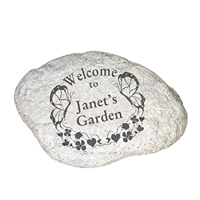 "GiftsForYouNow Butterfly Welcome Personalized Garden Stone, 11"" W x 8"" H x 1 1/2"" D, Resin : Garden & Outdoor"