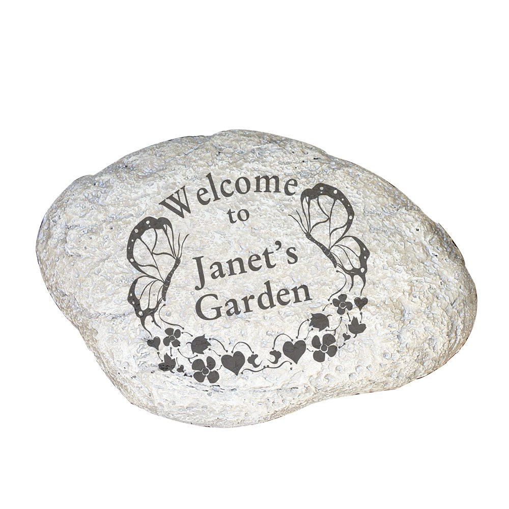 "GiftsForYouNow Butterfly Welcome Personalized Garden Stone, 11"" W x 8"" H x 1 1/2"" D, Resin"