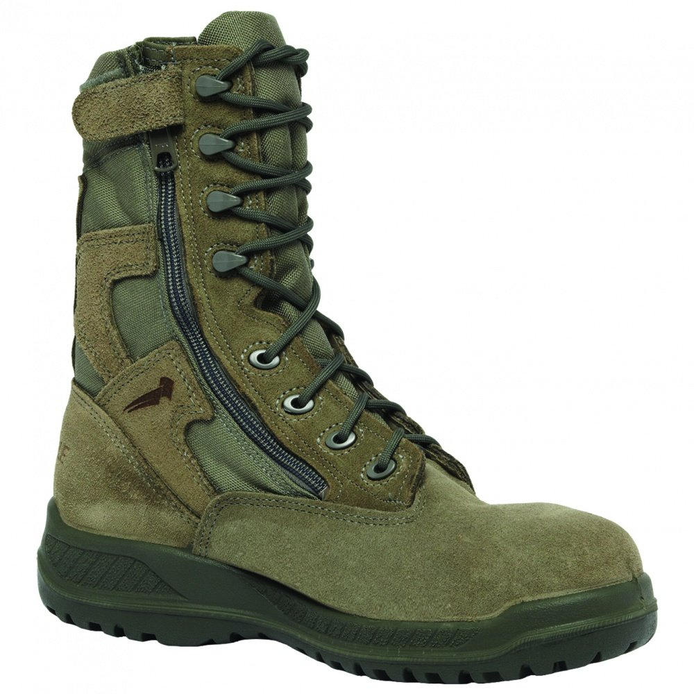 Belleville 610Z Men's Hot Weather Side-Zip Green Olive Leather Boots B002756BNG 130W|Sage Green