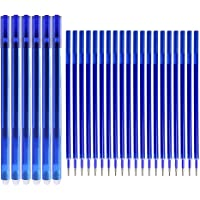 Boligrafos Borrables, Bolígrafos de Gel Azul Punta 0.5 mm, 6 Pcs Bolis Borrables y 20pcs Recambios de Bolígrafo con Goma…