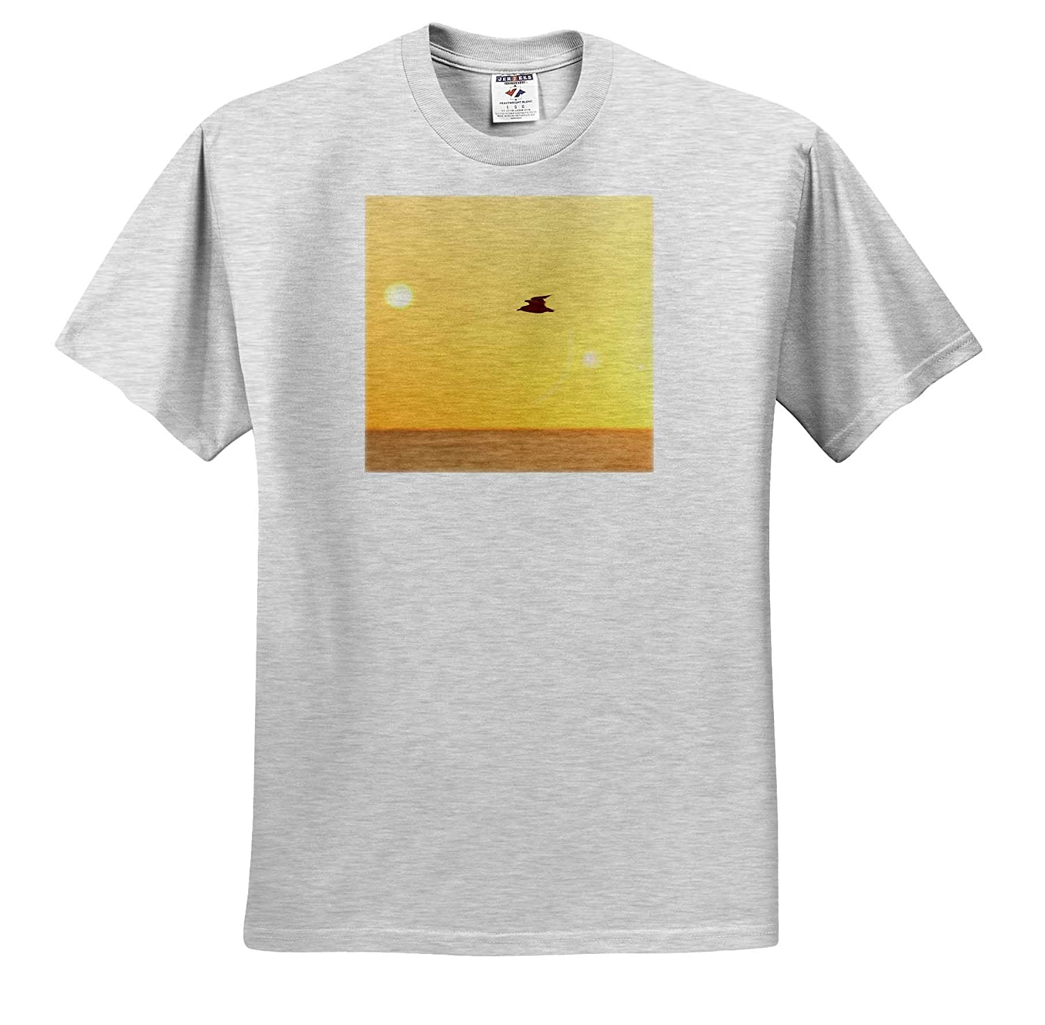 - T-Shirts Birds 3dRose Stamp City Photograph of a Ring-Billed Gull Flying Over The Atlantic Ocean
