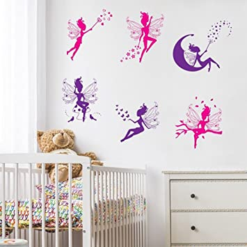 Wandsticker4u 6 Tlg Set Zauberfeen In Violette Pink