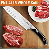 HOMI CHEF Silver Matte Polished 7 Inch Santoku Knife - Stainless Steel 7 Blade Japanese Santoku Kitchen Knife - Hollow Edge Chef Knife Ergonomic Handle for Chopping - High Carbon Chef Knife