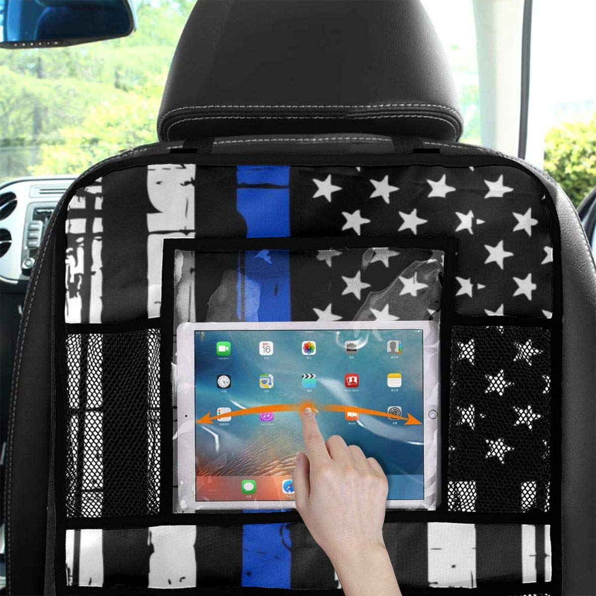 2 Pack Thin Blue Line American Flag Car Backseat Organizer Seat Back Protector Toddlers Kick Mats with Touch Screen Tablet Holder and Large Storage Pockets,Car Seat Organizer