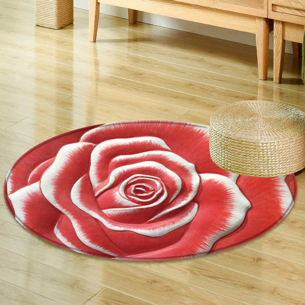 Round Area Rug low relief cement thai style handcraft of rose flower Indoor/Outdoor Round Area Rug -Round 35'' by PRUNUSHOME