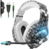 Gaming Headset, PS4 Games Headset Xbox One Headset with Noise Cancelling Mic, Stereo Surround Sound & LED Light, Soft Memory