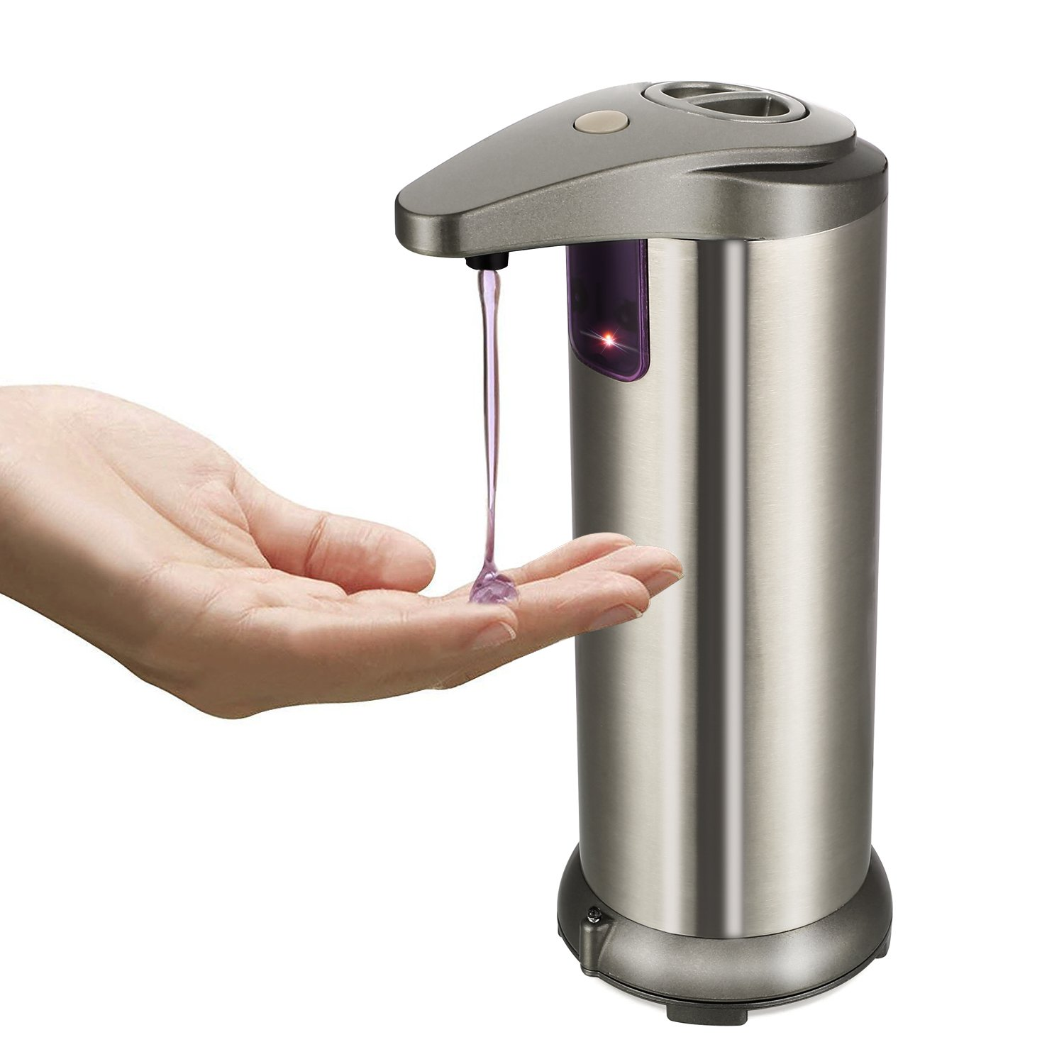 MVPOWER Sensor Soap Dispenser, Touch-Free Automatic Soap Pump with Waterproof Base, R Infrared Motion Sensor Hand Free Dish Soap for Kitchen and Bathroom