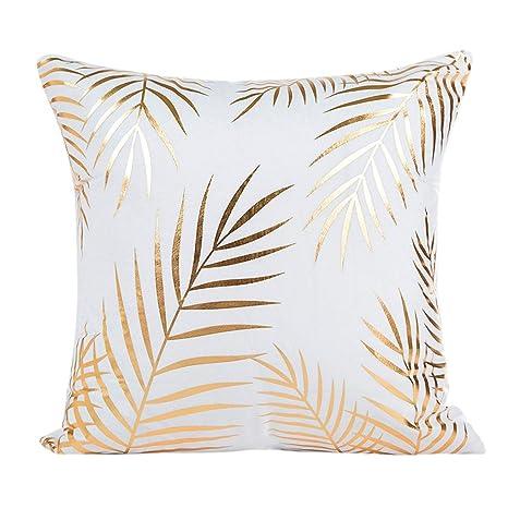 Fundas De Cojines, ❤️Xinantime Funda de almohada de estampado de oro Sofa Waist Throw Funda de cojín Decoración del hogar (❤️D)