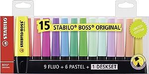 Stabilo Boss Original Highlighter Deskset of 15 Assorted Colours - Limited Edition