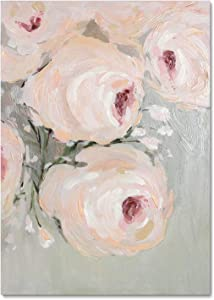 ArtbyHannah 20x28 Inch Hand Painted Floral Canvas Wall Art Decor Pictures for Living Room, Framed and Stretched 3D Modern Rose Flowers Oil Painting Artwork for Bedroom or Bathroom Decoration