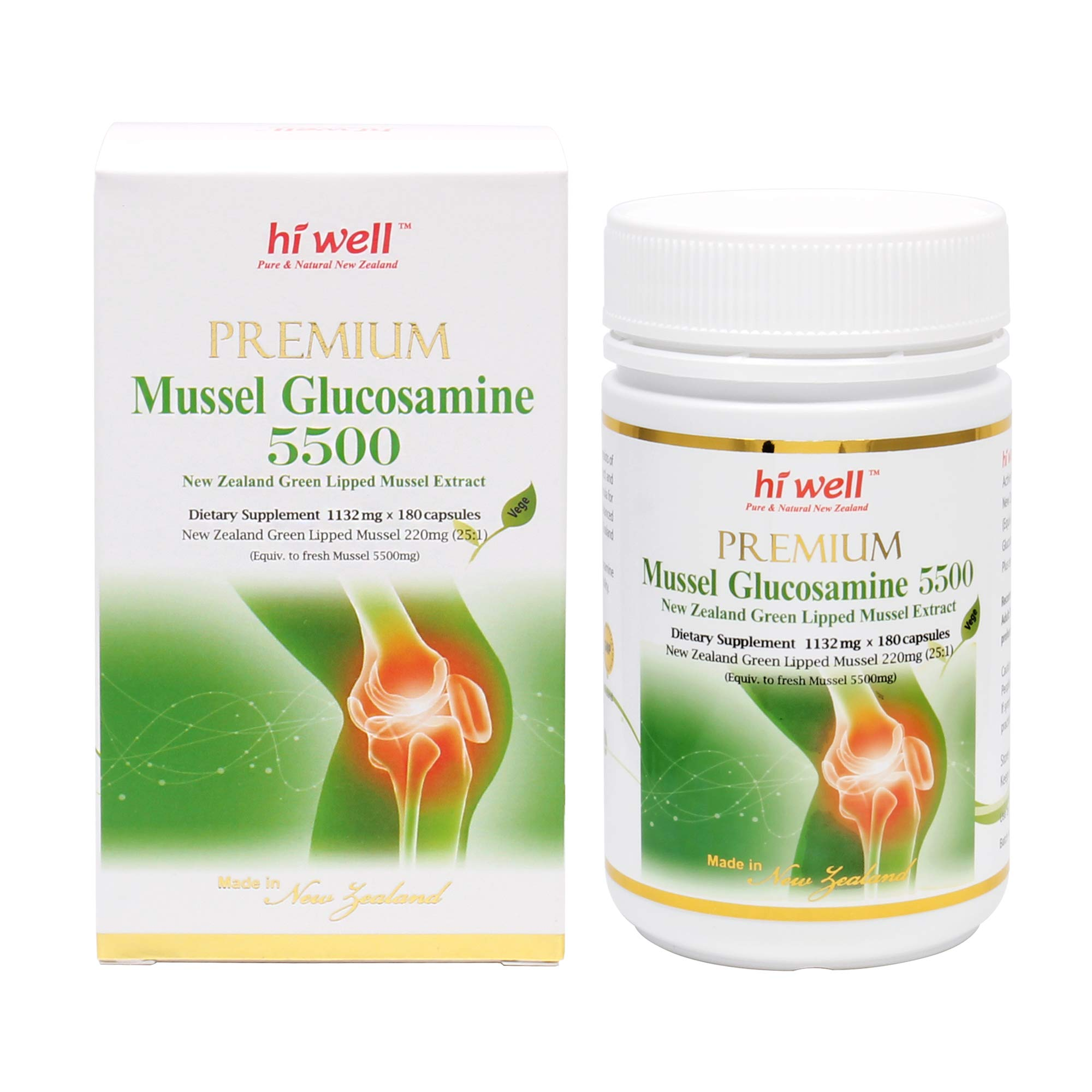 Hi Well Premium Mussel & Glucosamine 5500mg 180 Capsules New Zealand Green Lipped Mussel Extract Joint Health Supplements