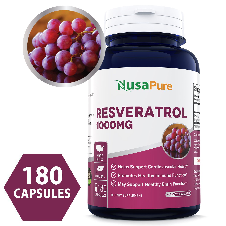 Resveratrol 1000mg 180caps (Non-GMO & Gluten Free) Promotes Heart Health and Balances Blood Pressure, Helps Balance Hormones by NusaPure