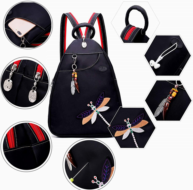 Fanspack Femmes Sac /à dos Sacs /à bandouli/ère Poitrine Sac /à dos Antivol Multi-Function Petit Sling Sac /à dos /Él/égant broderie Dragonfly Sac /à dos avec port pour casque et pendentif en ivoire
