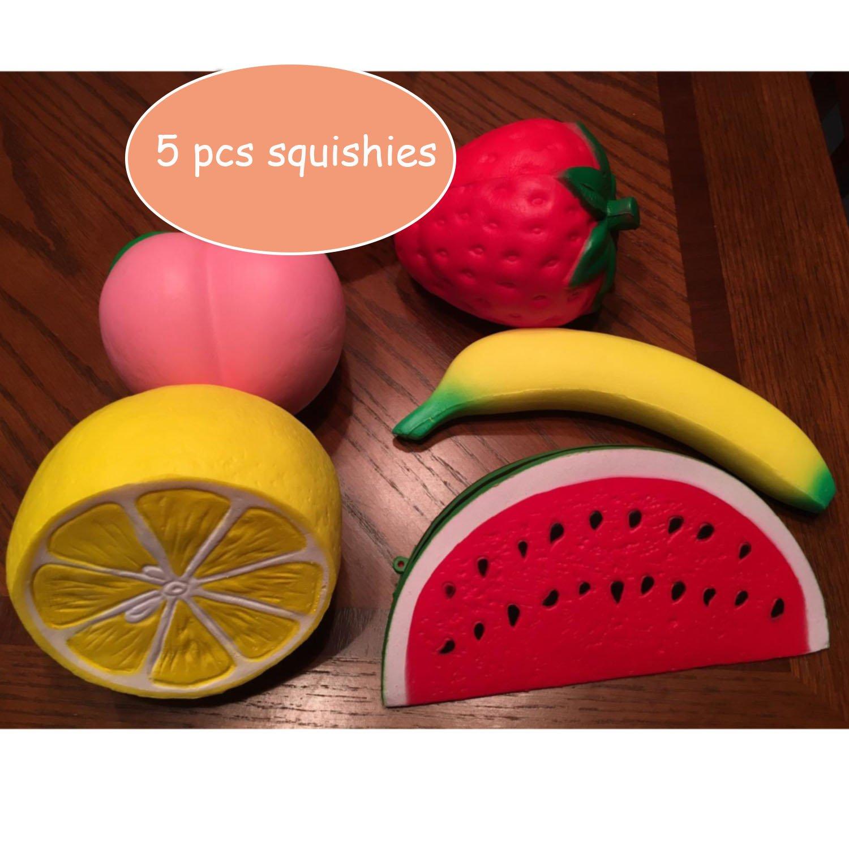 HIGO TOY 5pcs Jumbo Squishies Slow Rising Strawberry Watermelon Banana Peach Lemon Fruit Squishies Kawaii Scented Charms Hand Wrist Toys