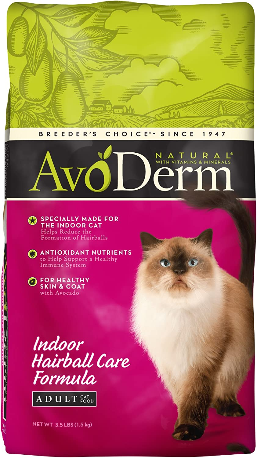 AvoDerm Natural Indoor Hairball Care Formula Adult Cat Food, 3.5-Pound