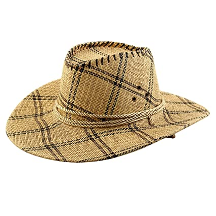 73c2e74139f uxcell Men Summer Outdoor Straw Braided Grid Pattern Wide Brim Western Style  Beach Sunhat Cowboy Hat
