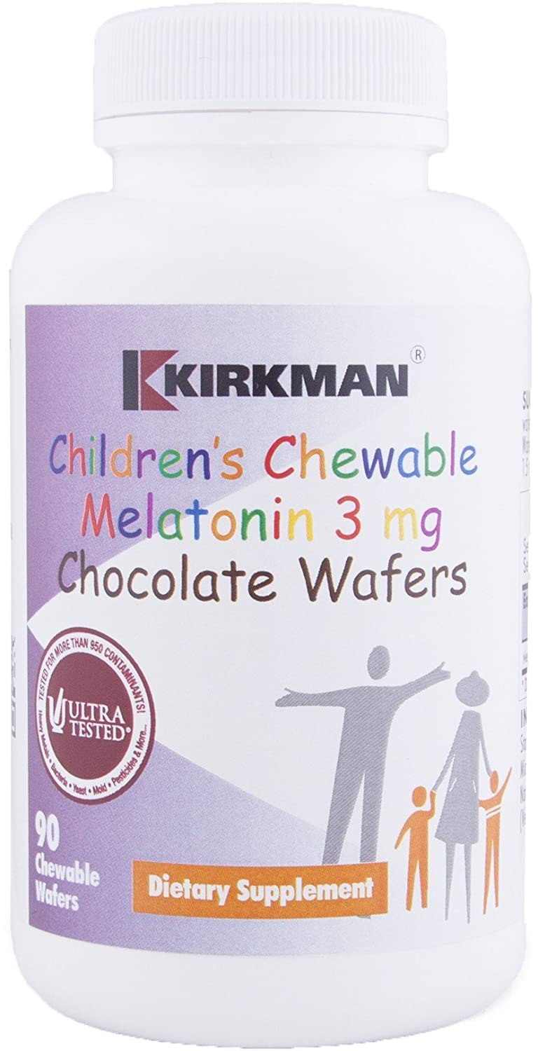 Kirkman Childrens Chewable Melatonin 3 mg || 90 Chocolate Wafers || Tested for More Than 950.