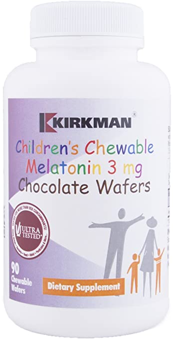 Kirkman Childrens Chewable Melatonin 3 mg || 90 Chocolate Wafers || Tested for More