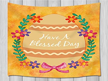 Amazoncom Easter Day Decor Tapestry By Jawo Huge Egg Lettering