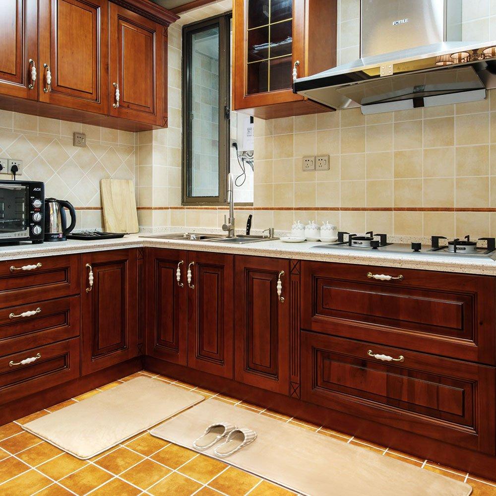 Kitchen Rug Set, LEEVAN Memory Foam Kitchen Comfort Mat Super Soft Rug Microfiber Flannel Area Runner Rugs Non-slip Backing Washable Bathroom Rug Set of 2 Pcs, 19''x31''+19''x63'', Light Coffee by LEEVAN (Image #6)