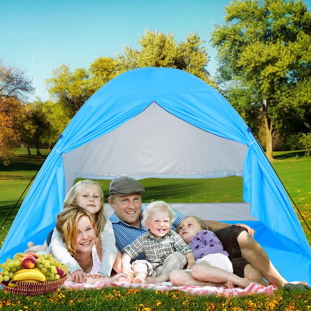 Beach Tent Large UV Pop up Sun Shelter Tents, Big Portable Automatic Sun Umbrella, Waterproof/Windproof Instant Easy Outdoor Cabana, Fit 3-4 Persons for Camping, Hiking, Canopy with Carry (blue3) by Sumbababy