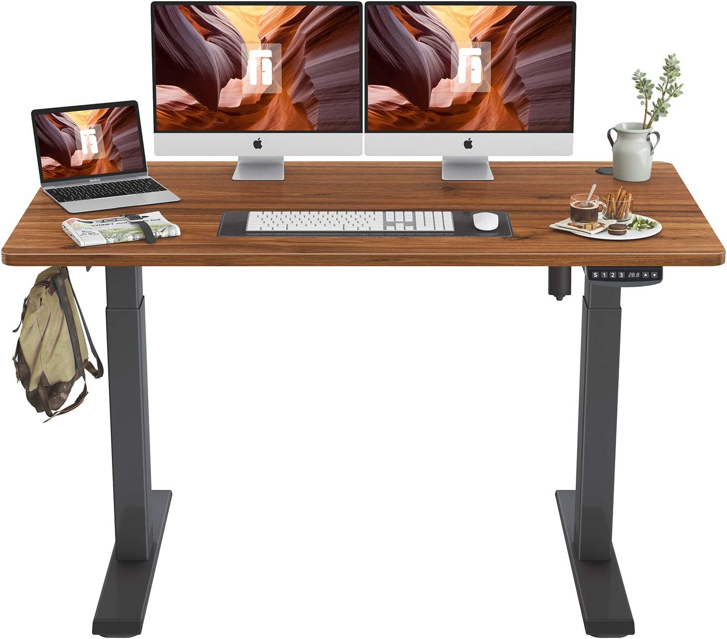 FEZIBO Height Adjustable Electric Standing Desk, 55 x 24 Inches Stand Up Table, Sit Stand Home Office Desk with Splice Board, Black Frame/Espresso Top