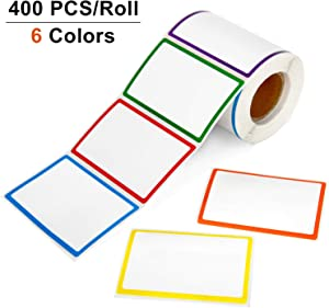 "Blisstime 400 PCS Name Tags, Name Tag Stickers Labels with 6 Colorful Borders for Clothes, File Folders - Office & School & Home (8.5x5.5cm/3.3"" x 2.2"", 6 Colors)"