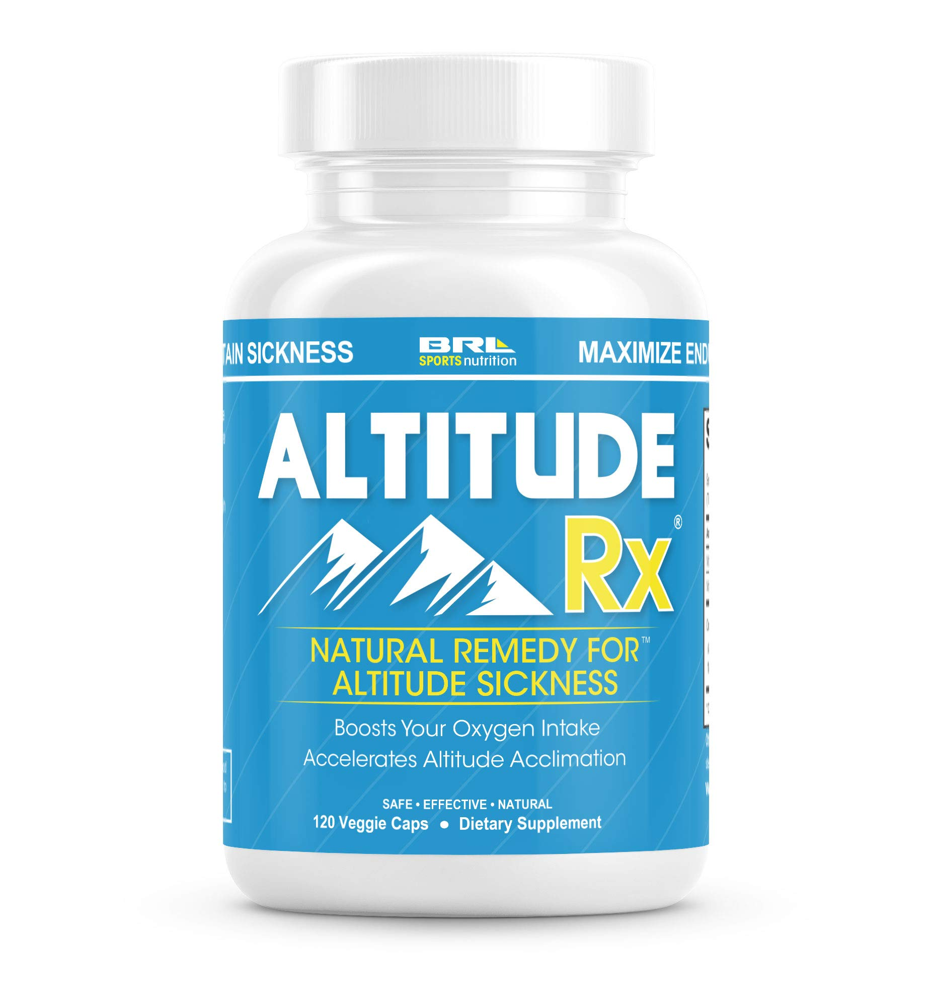 Altitude Rx OxyBoost Complex - Altitude Sickness Relief for Ski or Mountain Trips with Vitamin C, Alpha Lipoic Acid and Rhodiola (120 Vegetarian Caps) by BRL Sports Nutrition