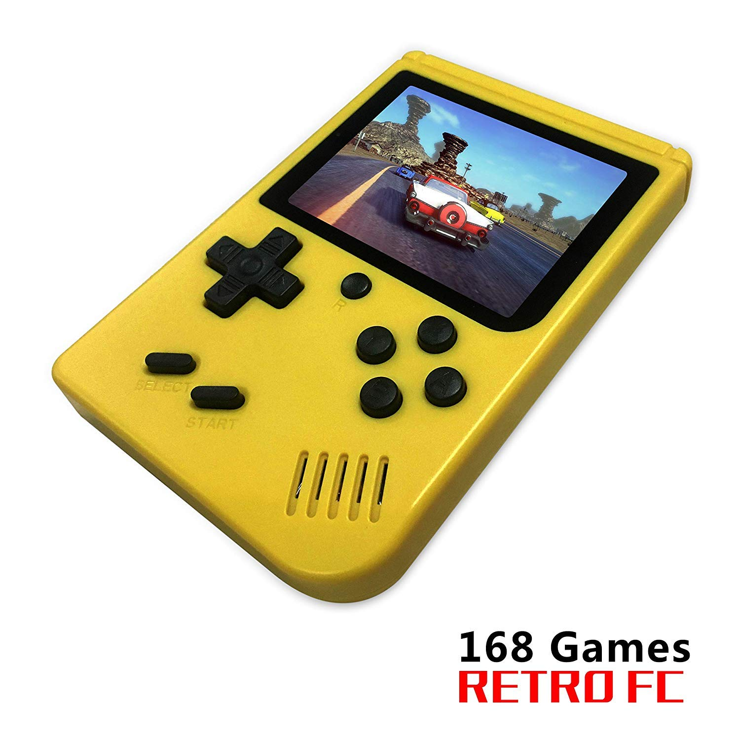 FLYFISH Handheld Game Console, Retro FC Game Console 3 Inch 168 Classic Games , Birthday Present for Children -Yellow