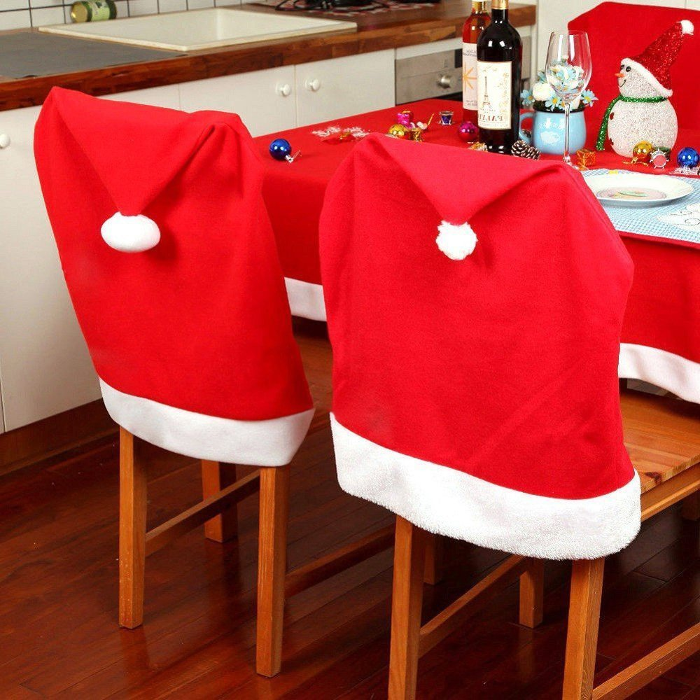 MUITIBOM 4 pcs Christmas Chair Back Red Christmas Dining Chair Back Cover Christmas Kitchen Chair Slip Covers Kitchen Dining Room Chairs Cover Santa Claus Hat Slipcovers Decoration