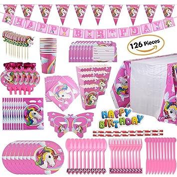 DLGF Unicornio Cumpleaños Papel Bandera Banderín Papel Taza Papel Toalla Sombrero Tela Cubiertos Set,Decoraciones para Fiestas Infantiles de Cumpleaños: ...
