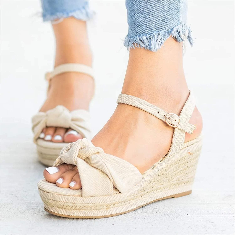 Mafulus Womens Wedge Espadrilles Platform Sandals Open Toe Buckle Ankle Strap Summer Slingback Shoes