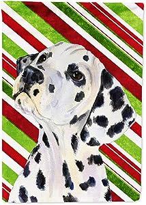 Caroline's Treasures SS4561GF Dalmatian Candy Cane Holiday Christmas Flag Garden Size, Small, Multicolor