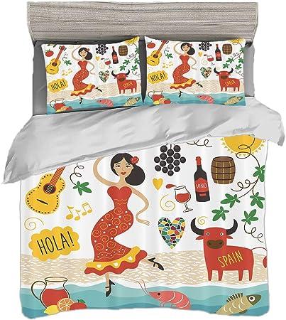 Juego de funda nórdica (150 x 200 cm) con 2 fundas de almohada España Ropa de cama con impresión digital España Lugares emblemáticos y símbolos Flamenco Barcelona Español Mariscos Europa Vacaciones Vi: