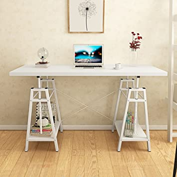 Tribesigns Computer Desk Height Adjustable Standing Desk, 55u201d Large Office  Desk Writing Desk With