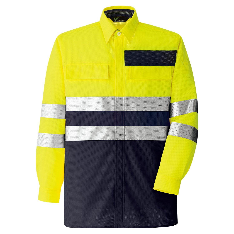 [ミドリ安全] 作業服 春夏 高視認 シャツ B07F2VXNBZ 3L|イエロー イエロー 3L
