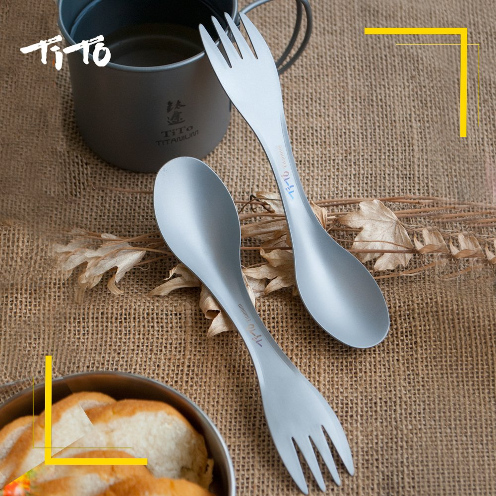 TiTo Titanium Spork for Outdoor Camping Titanium Flatware with Light Weight only 18g Titanium Spoon