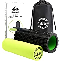 Reehut 2-in-1 Foam Roller Trigger Point Massage for Painful, Tight Muscles + Smooth Rollers for Rehabilitation! Free User E-Book + Free Carry CASE! Black