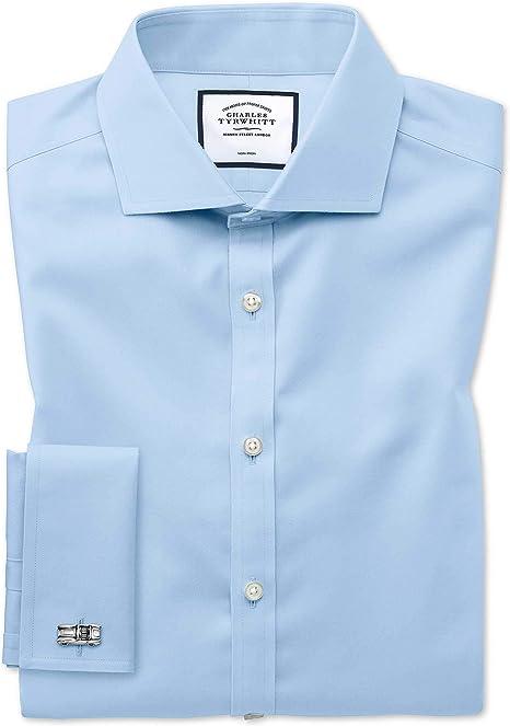 Charles Tyrwhitt Camisa Azul de Sarga y Corte superentallado con Cuello Italiano: Amazon.es: Ropa y accesorios