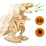 Lychee 3D Educational Gift Wooden Sound Control Dynamic Dinosaur Jigsaw Puzzle, DIY Assemble Dinosaur Robot Wood craft Toy Kit For Age 8+ Boy&Girls (Walking T-Rex)
