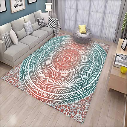 Teal and Coral Anti-Static Area Rugs Ombre Mandala Art Antique Gypsy Stylized Folk Pattern Mystical Cosmos Image Children Kids Nursery Rugs Floor ...