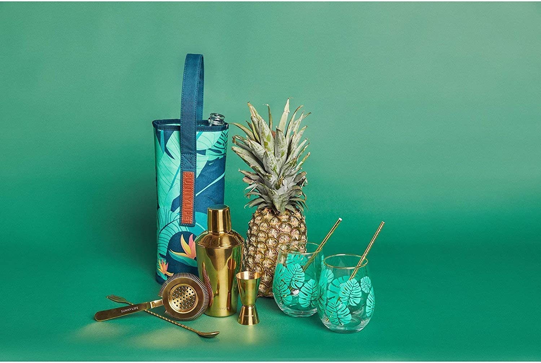Untersetzern SunnyLIFE Tropisches Cocktailkit mit Shaker Strohhalmen Regenschirmen und Getr/änkef/ührung STANDARD Luxe Monteverde R/ührer