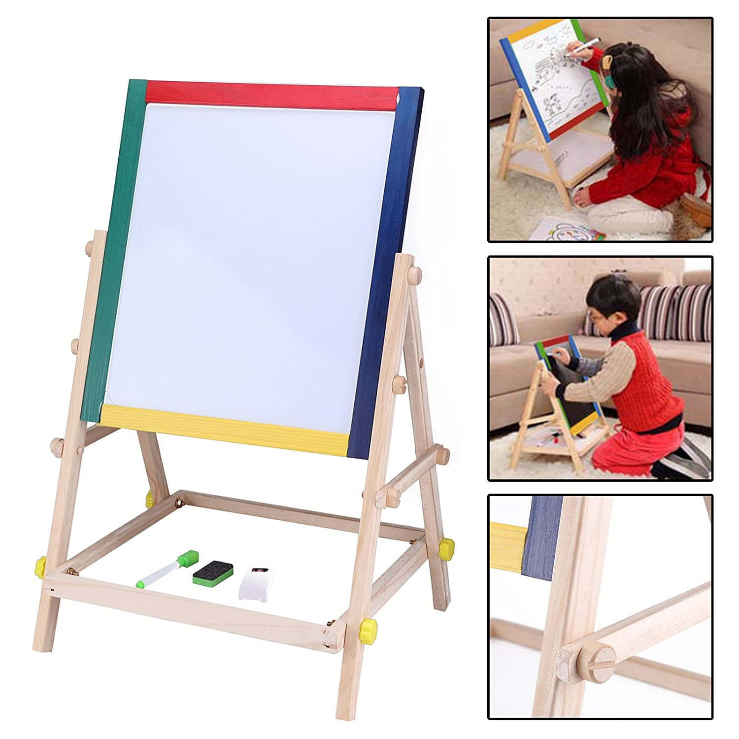 DHOUTDOORS Children Drawing Board Wooden 2 In 1 Kids Easel Adjustable Black White Chalk