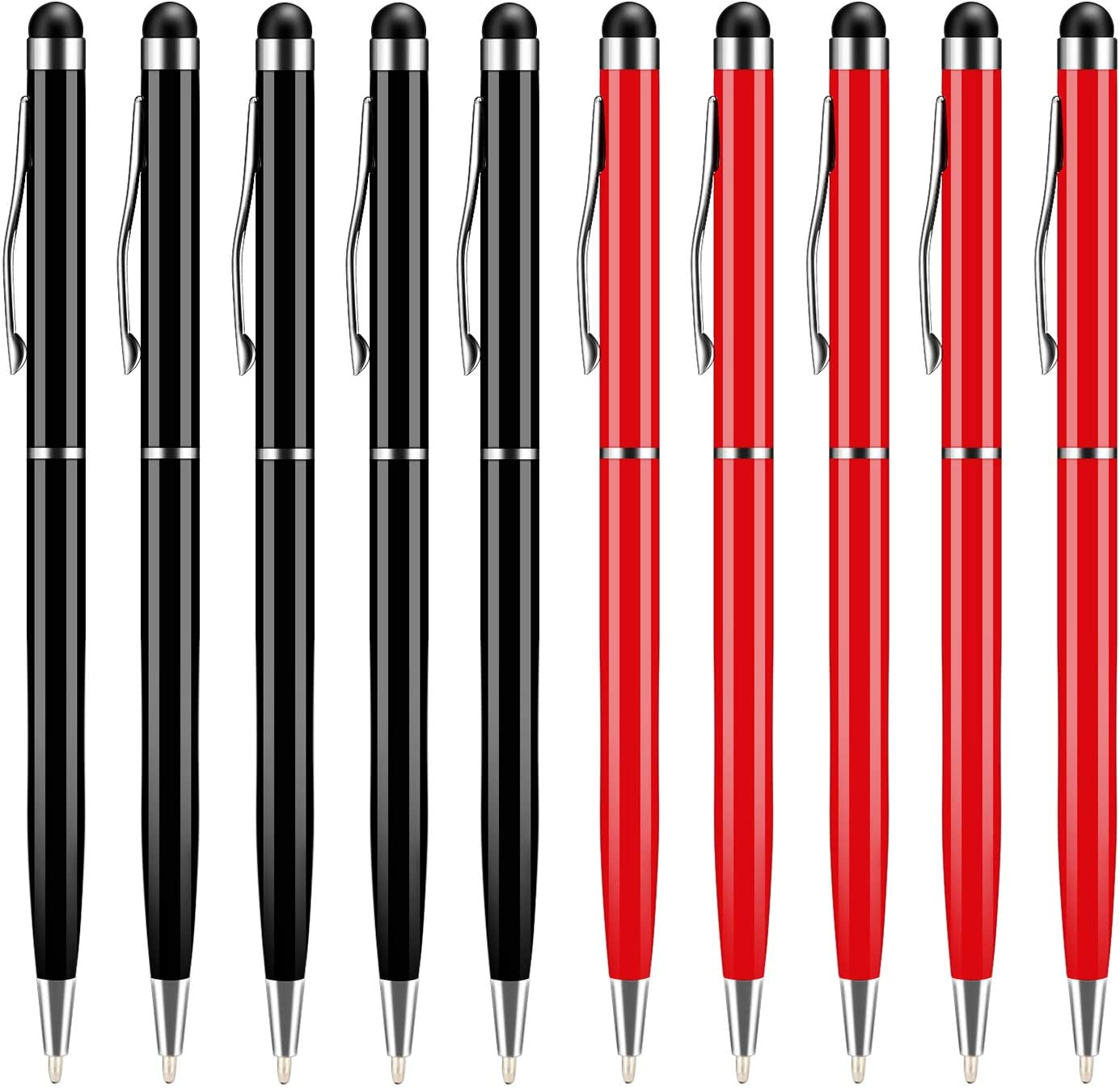 UROPHYLLA Universal 2 in 1 Capacitive Stylus Ballpoint Pens for Touch Screens Fine Point - Bundle(10 Balck 5 Silver 5 red)