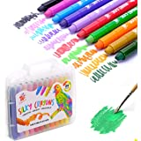 TBC The Best Crafts 24 Colors Silky Gel Crayons Set, Washable 3-in-1 Smooth Bolder Crayons, Pastel and Watercolor Effects wit