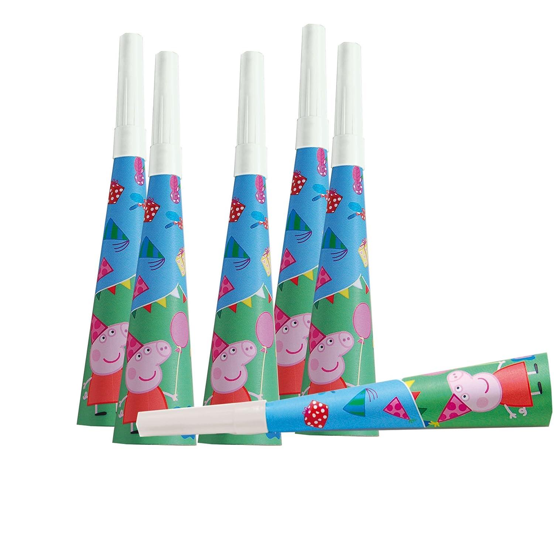 ALMACENESADAN 0573, Pack 6 trompetas Peppa Pig, Producto de cartó n y Boquilla de plá tico, para Fiestas y cumpleañ os Producto de cartón y Boquilla de plático para Fiestas y cumpleaños