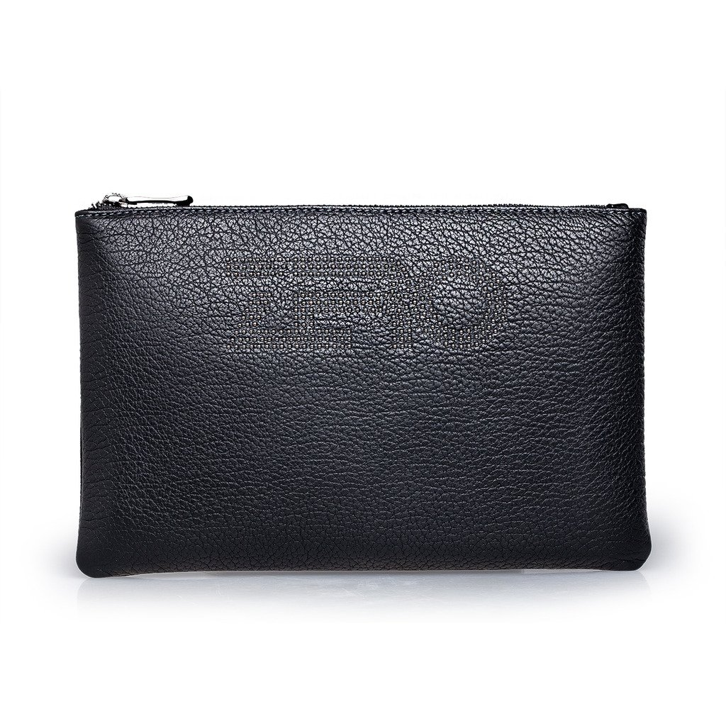 ZRO Men's Genuine Leather Clutch Bag Card Cash Holder Handbag Wallet Small Black