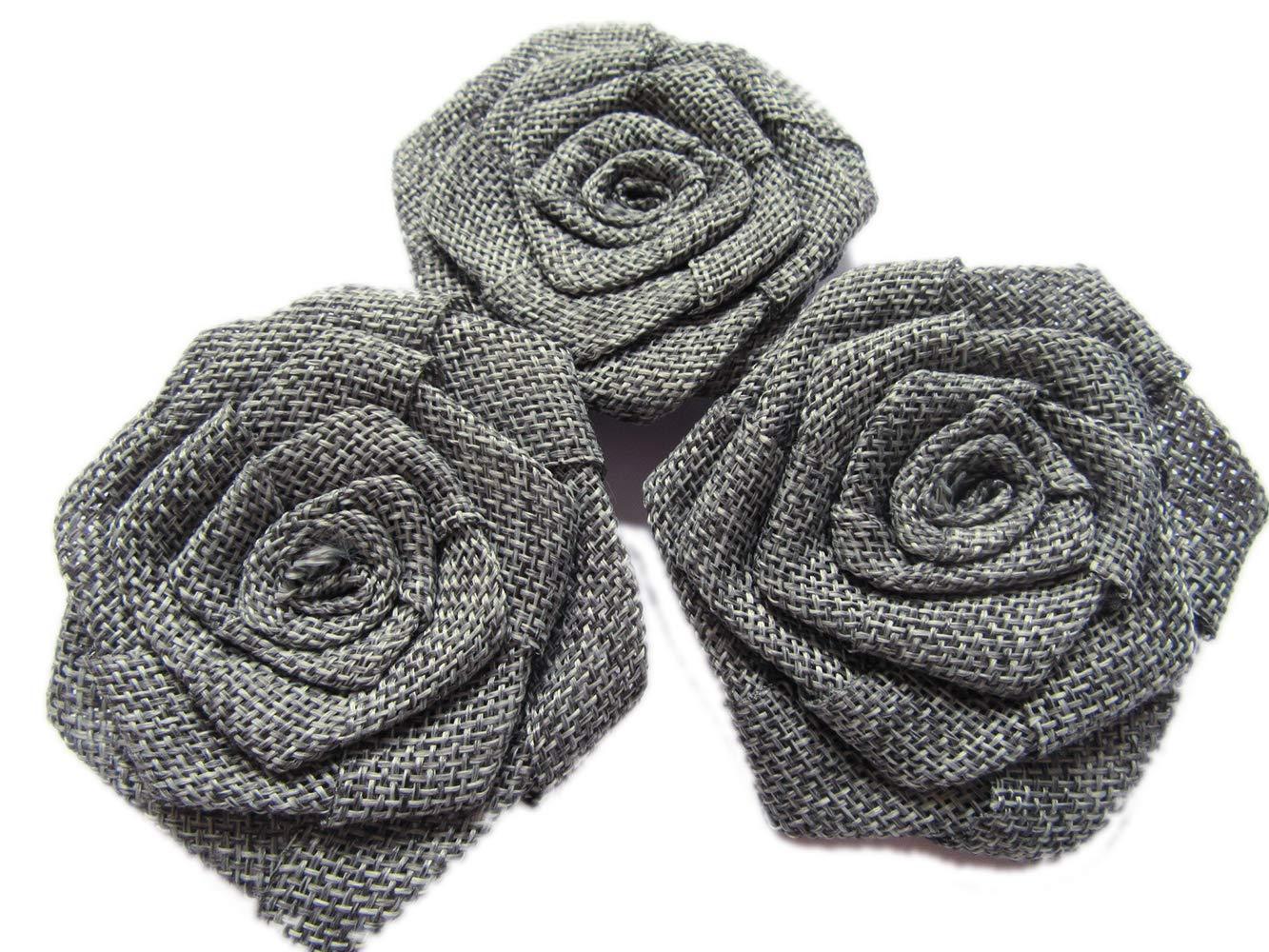 yycraft 12ピース黄麻布Rosesファブリック花のヘッドバンドヘアアクセサリーDIYクラフト/ウェディングパーティーデコレーション/スクラップブッキング装飾 About 3
